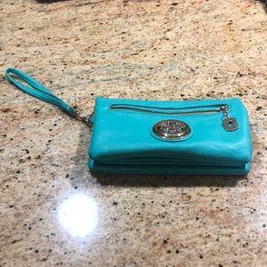 Handbags - Aqua wristlet with optional shoulder strap